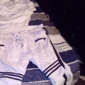 White shirt black and white jeans